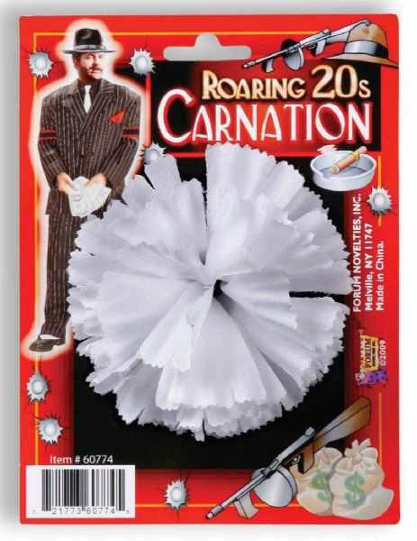 1920's Men's White Gangster Carnation Buttonhole